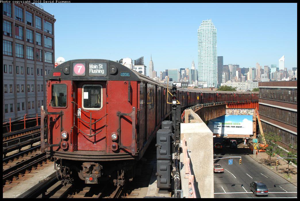 (232k, 1044x701)<br><b>Country:</b> United States<br><b>City:</b> New York<br><b>System:</b> New York City Transit<br><b>Line:</b> IRT Flushing Line<br><b>Location:</b> 33rd Street/Rawson Street <br><b>Route:</b> 7<br><b>Car:</b> R-36 World's Fair (St. Louis, 1963-64) 9613 <br><b>Photo by:</b> David Pirmann<br><b>Date:</b> 8/23/2003<br><b>Viewed (this week/total):</b> 1 / 4905