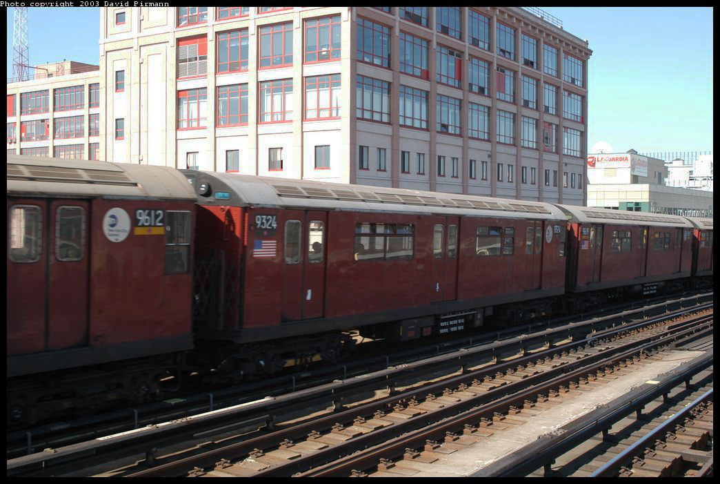 (214k, 1044x701)<br><b>Country:</b> United States<br><b>City:</b> New York<br><b>System:</b> New York City Transit<br><b>Line:</b> IRT Flushing Line<br><b>Location:</b> 33rd Street/Rawson Street <br><b>Route:</b> 7<br><b>Car:</b> R-33 World's Fair (St. Louis, 1963-64) 9324 <br><b>Photo by:</b> David Pirmann<br><b>Date:</b> 8/23/2003<br><b>Viewed (this week/total):</b> 1 / 2457