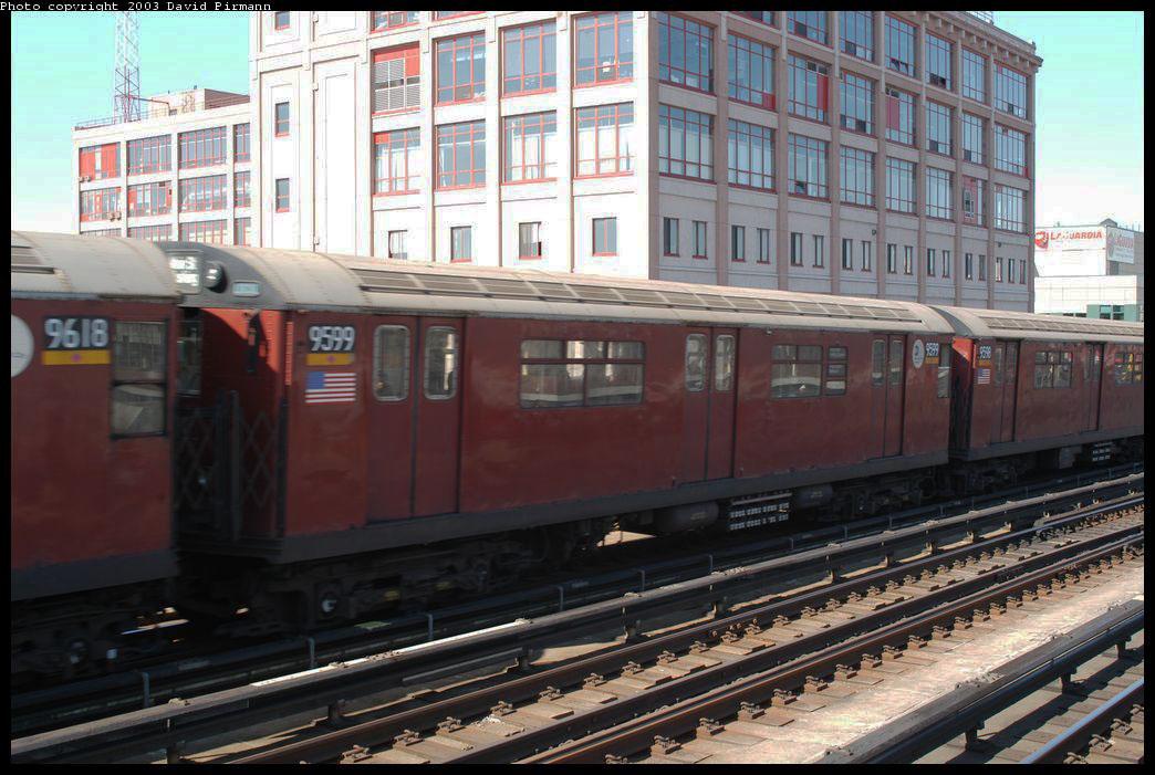 (219k, 1044x701)<br><b>Country:</b> United States<br><b>City:</b> New York<br><b>System:</b> New York City Transit<br><b>Line:</b> IRT Flushing Line<br><b>Location:</b> 33rd Street/Rawson Street <br><b>Route:</b> 7<br><b>Car:</b> R-36 World's Fair (St. Louis, 1963-64) 9599 <br><b>Photo by:</b> David Pirmann<br><b>Date:</b> 8/23/2003<br><b>Viewed (this week/total):</b> 0 / 3001