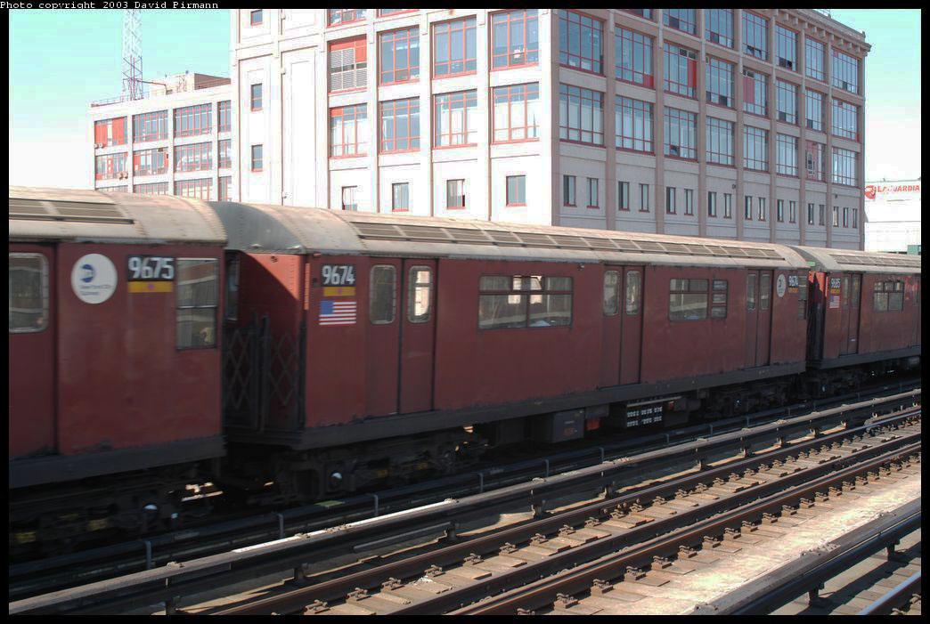 (214k, 1044x701)<br><b>Country:</b> United States<br><b>City:</b> New York<br><b>System:</b> New York City Transit<br><b>Line:</b> IRT Flushing Line<br><b>Location:</b> 33rd Street/Rawson Street <br><b>Route:</b> 7<br><b>Car:</b> R-36 World's Fair (St. Louis, 1963-64) 9674 <br><b>Photo by:</b> David Pirmann<br><b>Date:</b> 8/23/2003<br><b>Viewed (this week/total):</b> 0 / 2410