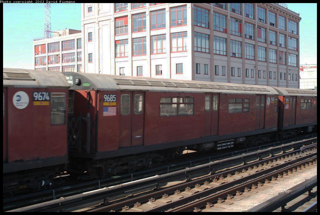 (212k, 1044x701)<br><b>Country:</b> United States<br><b>City:</b> New York<br><b>System:</b> New York City Transit<br><b>Line:</b> IRT Flushing Line<br><b>Location:</b> 33rd Street/Rawson Street <br><b>Route:</b> 7<br><b>Car:</b> R-36 World's Fair (St. Louis, 1963-64) 9685 <br><b>Photo by:</b> David Pirmann<br><b>Date:</b> 8/23/2003<br><b>Viewed (this week/total):</b> 0 / 1990