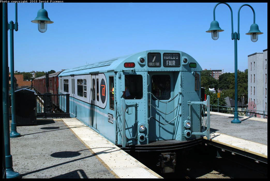 (214k, 1044x701)<br><b>Country:</b> United States<br><b>City:</b> New York<br><b>System:</b> New York City Transit<br><b>Line:</b> IRT Flushing Line<br><b>Location:</b> 61st Street/Woodside <br><b>Route:</b> Fan Trip<br><b>Car:</b> R-33 World's Fair (St. Louis, 1963-64) 9306 <br><b>Photo by:</b> David Pirmann<br><b>Date:</b> 8/23/2003<br><b>Viewed (this week/total):</b> 0 / 2651