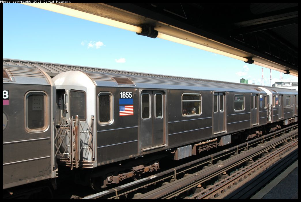 (156k, 1044x701)<br><b>Country:</b> United States<br><b>City:</b> New York<br><b>System:</b> New York City Transit<br><b>Line:</b> IRT Flushing Line<br><b>Location:</b> Court House Square/45th Road <br><b>Route:</b> 7<br><b>Car:</b> R-62A (Bombardier, 1984-1987)  1855 <br><b>Photo by:</b> David Pirmann<br><b>Date:</b> 8/23/2003<br><b>Viewed (this week/total):</b> 2 / 2915