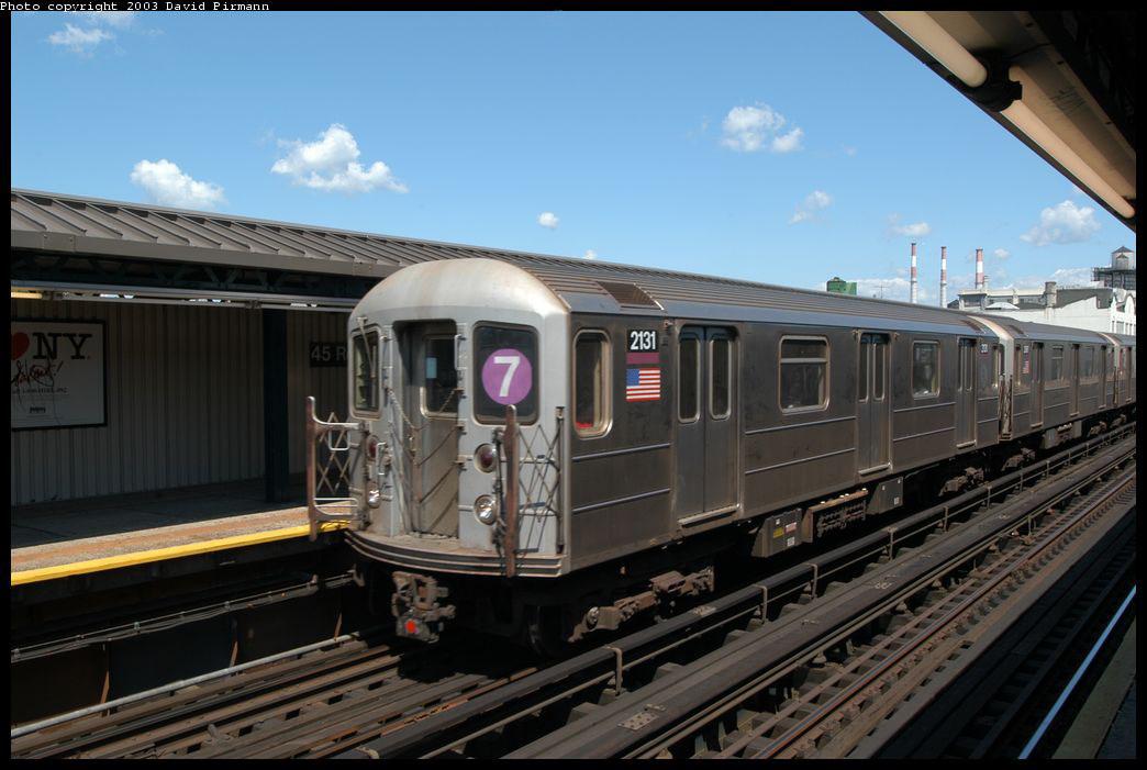 (190k, 1044x701)<br><b>Country:</b> United States<br><b>City:</b> New York<br><b>System:</b> New York City Transit<br><b>Line:</b> IRT Flushing Line<br><b>Location:</b> Court House Square/45th Road <br><b>Route:</b> 7<br><b>Car:</b> R-62A (Bombardier, 1984-1987)  2131 <br><b>Photo by:</b> David Pirmann<br><b>Date:</b> 8/23/2003<br><b>Viewed (this week/total):</b> 0 / 2561