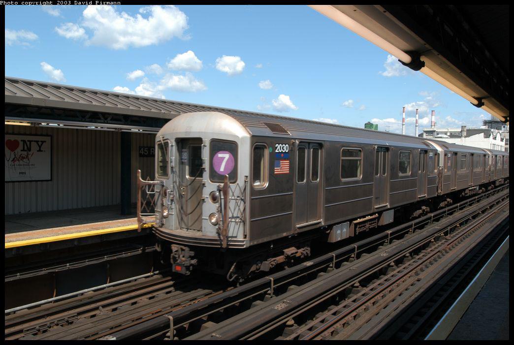 (190k, 1044x701)<br><b>Country:</b> United States<br><b>City:</b> New York<br><b>System:</b> New York City Transit<br><b>Line:</b> IRT Flushing Line<br><b>Location:</b> Court House Square/45th Road <br><b>Route:</b> 7<br><b>Car:</b> R-62A (Bombardier, 1984-1987)  2030 <br><b>Photo by:</b> David Pirmann<br><b>Date:</b> 8/23/2003<br><b>Viewed (this week/total):</b> 0 / 5922