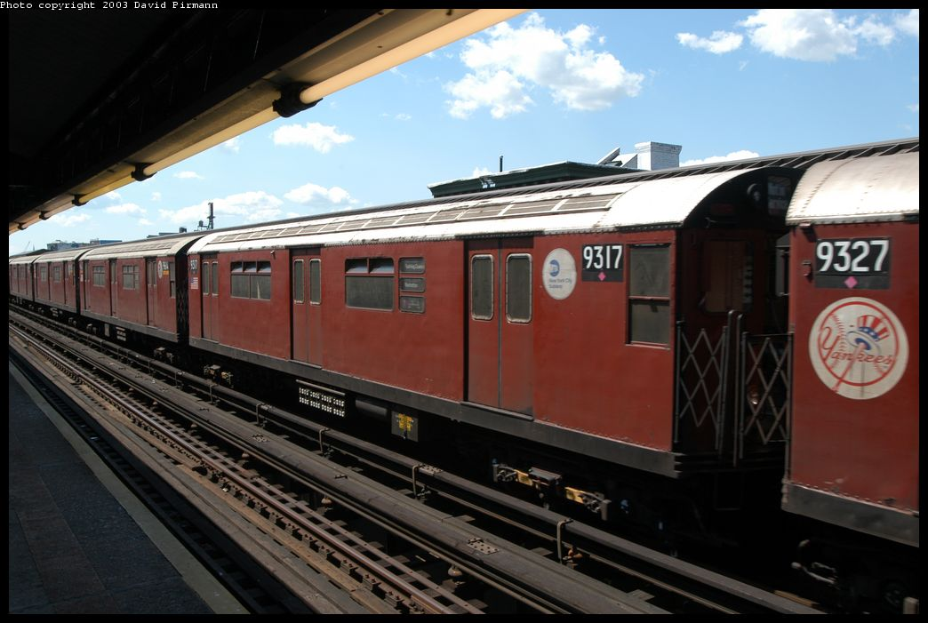 (162k, 1044x701)<br><b>Country:</b> United States<br><b>City:</b> New York<br><b>System:</b> New York City Transit<br><b>Line:</b> IRT Flushing Line<br><b>Location:</b> Court House Square/45th Road <br><b>Route:</b> Fan Trip<br><b>Car:</b> R-33 World's Fair (St. Louis, 1963-64) 9317 <br><b>Photo by:</b> David Pirmann<br><b>Date:</b> 8/23/2003<br><b>Viewed (this week/total):</b> 1 / 2418