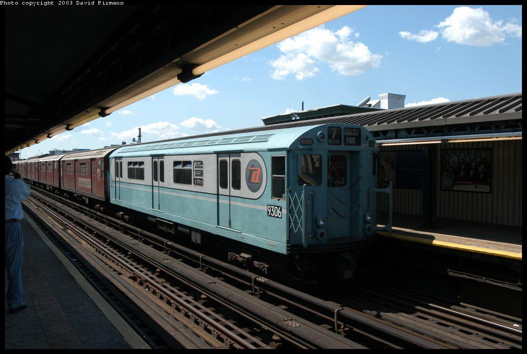 (161k, 1044x701)<br><b>Country:</b> United States<br><b>City:</b> New York<br><b>System:</b> New York City Transit<br><b>Line:</b> IRT Flushing Line<br><b>Location:</b> Court House Square/45th Road <br><b>Route:</b> Fan Trip<br><b>Car:</b> R-33 World's Fair (St. Louis, 1963-64) 9306 <br><b>Photo by:</b> David Pirmann<br><b>Date:</b> 8/23/2003<br><b>Viewed (this week/total):</b> 0 / 2051
