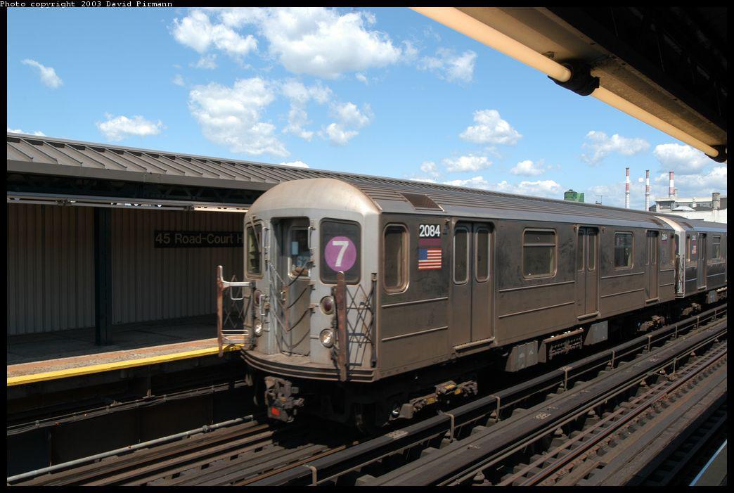 (197k, 1044x701)<br><b>Country:</b> United States<br><b>City:</b> New York<br><b>System:</b> New York City Transit<br><b>Line:</b> IRT Flushing Line<br><b>Location:</b> Court House Square/45th Road <br><b>Route:</b> 7<br><b>Car:</b> R-62A (Bombardier, 1984-1987)  2084 <br><b>Photo by:</b> David Pirmann<br><b>Date:</b> 8/23/2003<br><b>Viewed (this week/total):</b> 0 / 2553