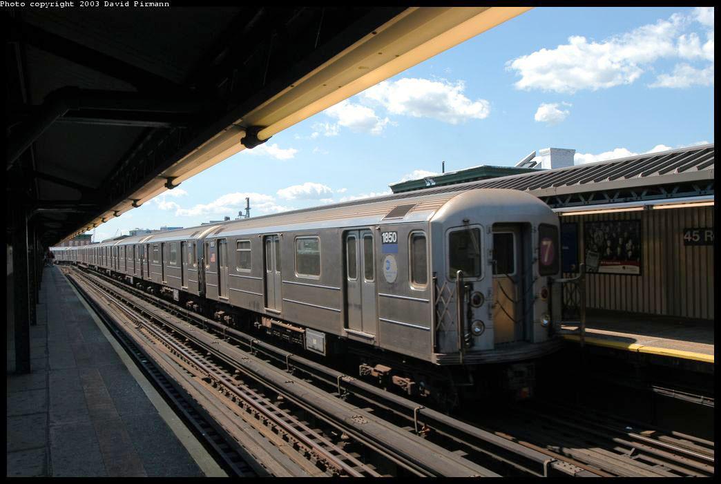(188k, 1044x701)<br><b>Country:</b> United States<br><b>City:</b> New York<br><b>System:</b> New York City Transit<br><b>Line:</b> IRT Flushing Line<br><b>Location:</b> Court House Square/45th Road <br><b>Route:</b> 7<br><b>Car:</b> R-62A (Bombardier, 1984-1987)  1850 <br><b>Photo by:</b> David Pirmann<br><b>Date:</b> 8/23/2003<br><b>Viewed (this week/total):</b> 1 / 2468