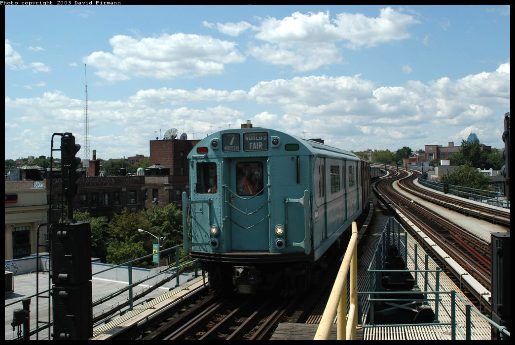(211k, 1044x701)<br><b>Country:</b> United States<br><b>City:</b> New York<br><b>System:</b> New York City Transit<br><b>Line:</b> IRT Flushing Line<br><b>Location:</b> 61st Street/Woodside <br><b>Route:</b> Fan Trip<br><b>Car:</b> R-33 World's Fair (St. Louis, 1963-64) 9306 <br><b>Photo by:</b> David Pirmann<br><b>Date:</b> 8/23/2003<br><b>Viewed (this week/total):</b> 0 / 2592