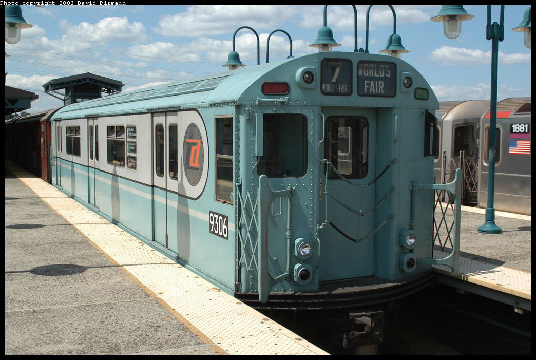 (210k, 1044x701)<br><b>Country:</b> United States<br><b>City:</b> New York<br><b>System:</b> New York City Transit<br><b>Line:</b> IRT Flushing Line<br><b>Location:</b> 61st Street/Woodside <br><b>Route:</b> Fan Trip<br><b>Car:</b> R-33 World's Fair (St. Louis, 1963-64) 9306 <br><b>Photo by:</b> David Pirmann<br><b>Date:</b> 8/23/2003<br><b>Viewed (this week/total):</b> 1 / 2936