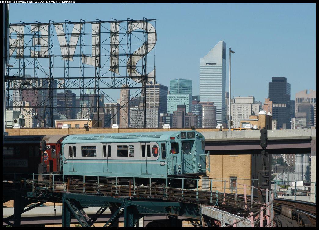 (197k, 1044x755)<br><b>Country:</b> United States<br><b>City:</b> New York<br><b>System:</b> New York City Transit<br><b>Line:</b> IRT Flushing Line<br><b>Location:</b> Queensborough Plaza <br><b>Route:</b> Fan Trip<br><b>Car:</b> R-33 World's Fair (St. Louis, 1963-64) 9306 <br><b>Photo by:</b> David Pirmann<br><b>Date:</b> 8/23/2003<br><b>Viewed (this week/total):</b> 4 / 8633