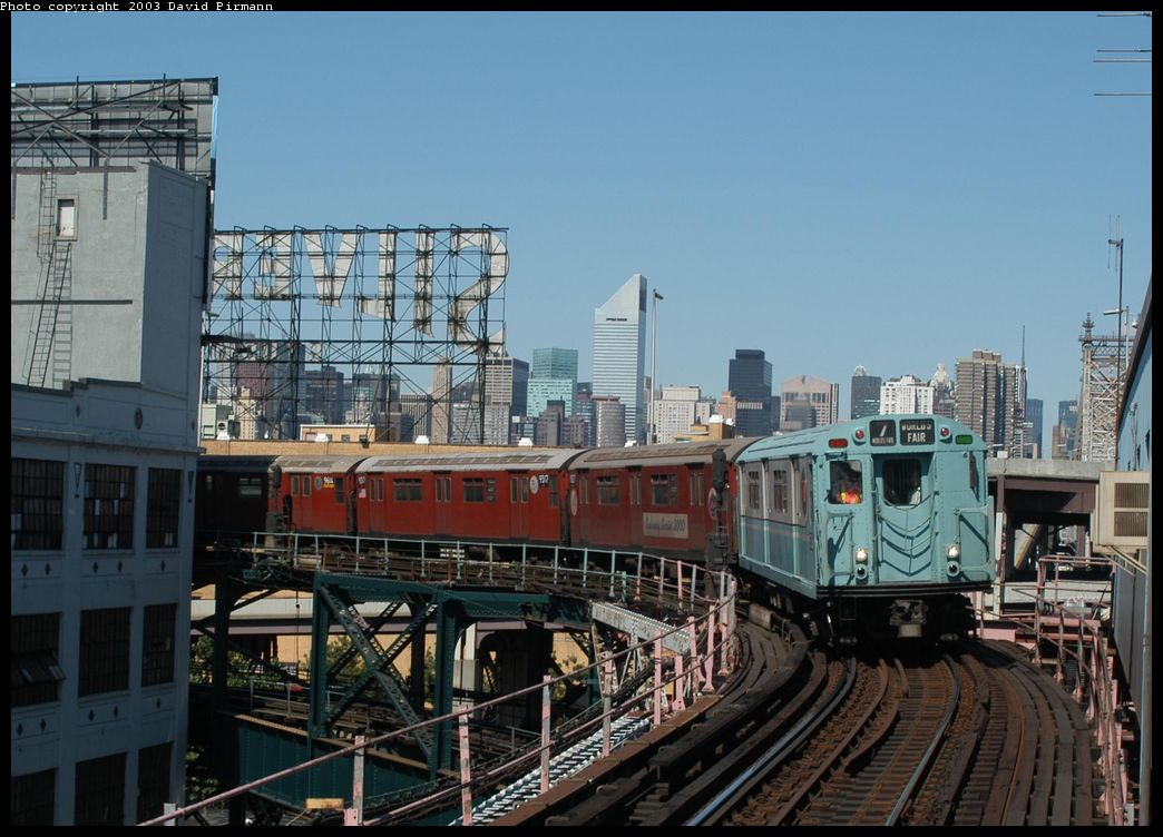 (134k, 1044x752)<br><b>Country:</b> United States<br><b>City:</b> New York<br><b>System:</b> New York City Transit<br><b>Line:</b> IRT Flushing Line<br><b>Location:</b> Queensborough Plaza <br><b>Route:</b> Fan Trip<br><b>Car:</b> R-33 World's Fair (St. Louis, 1963-64) 9306 <br><b>Photo by:</b> David Pirmann<br><b>Date:</b> 8/23/2003<br><b>Viewed (this week/total):</b> 0 / 3148