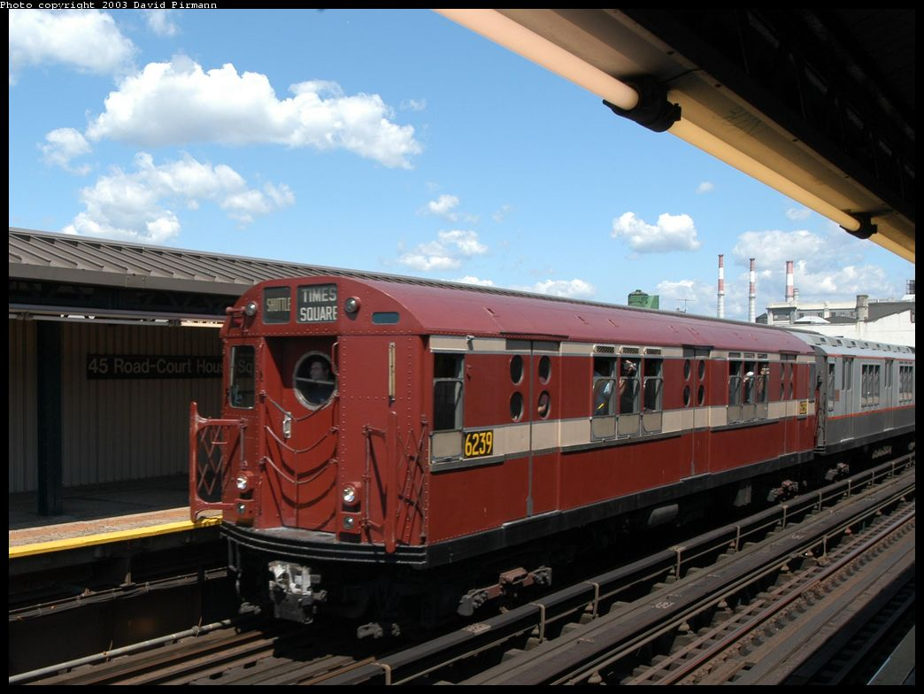 (112k, 1044x784)<br><b>Country:</b> United States<br><b>City:</b> New York<br><b>System:</b> New York City Transit<br><b>Line:</b> IRT Flushing Line<br><b>Location:</b> Court House Square/45th Road <br><b>Route:</b> Fan Trip<br><b>Car:</b> R-15 (American Car & Foundry, 1950) 6239 <br><b>Photo by:</b> David Pirmann<br><b>Date:</b> 8/23/2003<br><b>Viewed (this week/total):</b> 3 / 10567