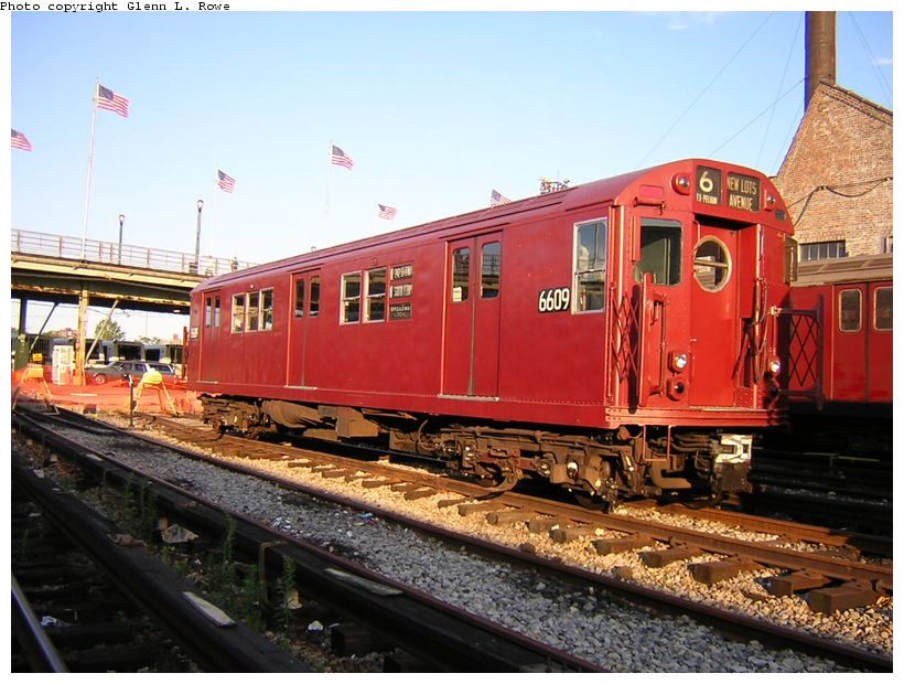 (136k, 820x620)<br><b>Country:</b> United States<br><b>City:</b> New York<br><b>System:</b> New York City Transit<br><b>Location:</b> Corona Yard<br><b>Car:</b> R-17 (St. Louis, 1955-56) 6609 <br><b>Photo by:</b> Glenn L. Rowe<br><b>Date:</b> 8/23/2003<br><b>Viewed (this week/total):</b> 5 / 9556