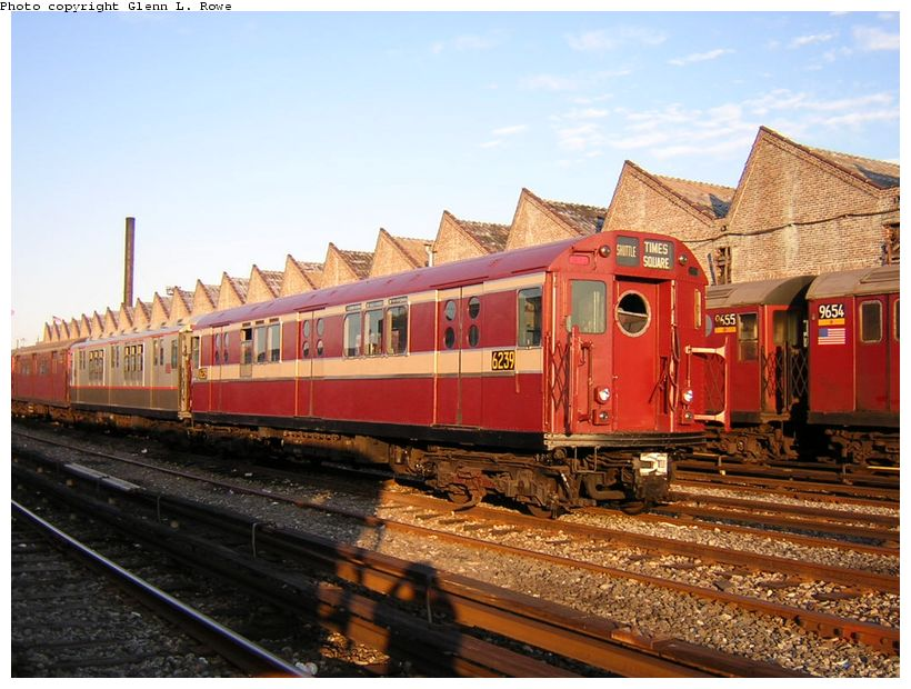 (133k, 820x620)<br><b>Country:</b> United States<br><b>City:</b> New York<br><b>System:</b> New York City Transit<br><b>Location:</b> Corona Yard<br><b>Car:</b> R-15 (American Car & Foundry, 1950) 6239 <br><b>Photo by:</b> Glenn L. Rowe<br><b>Date:</b> 8/23/2003<br><b>Viewed (this week/total):</b> 1 / 3171