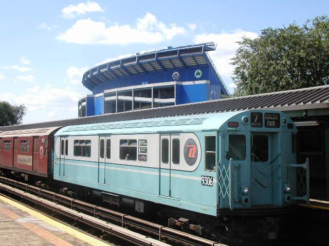 (68k, 640x480)<br><b>Country:</b> United States<br><b>City:</b> New York<br><b>System:</b> New York City Transit<br><b>Line:</b> IRT Flushing Line<br><b>Location:</b> Willets Point/Mets (fmr. Shea Stadium) <br><b>Route:</b> Fan Trip<br><b>Car:</b> R-33 World's Fair (St. Louis, 1963-64) 9306 <br><b>Photo by:</b> Carlton Walton<br><b>Date:</b> 8/23/2003<br><b>Viewed (this week/total):</b> 1 / 3595