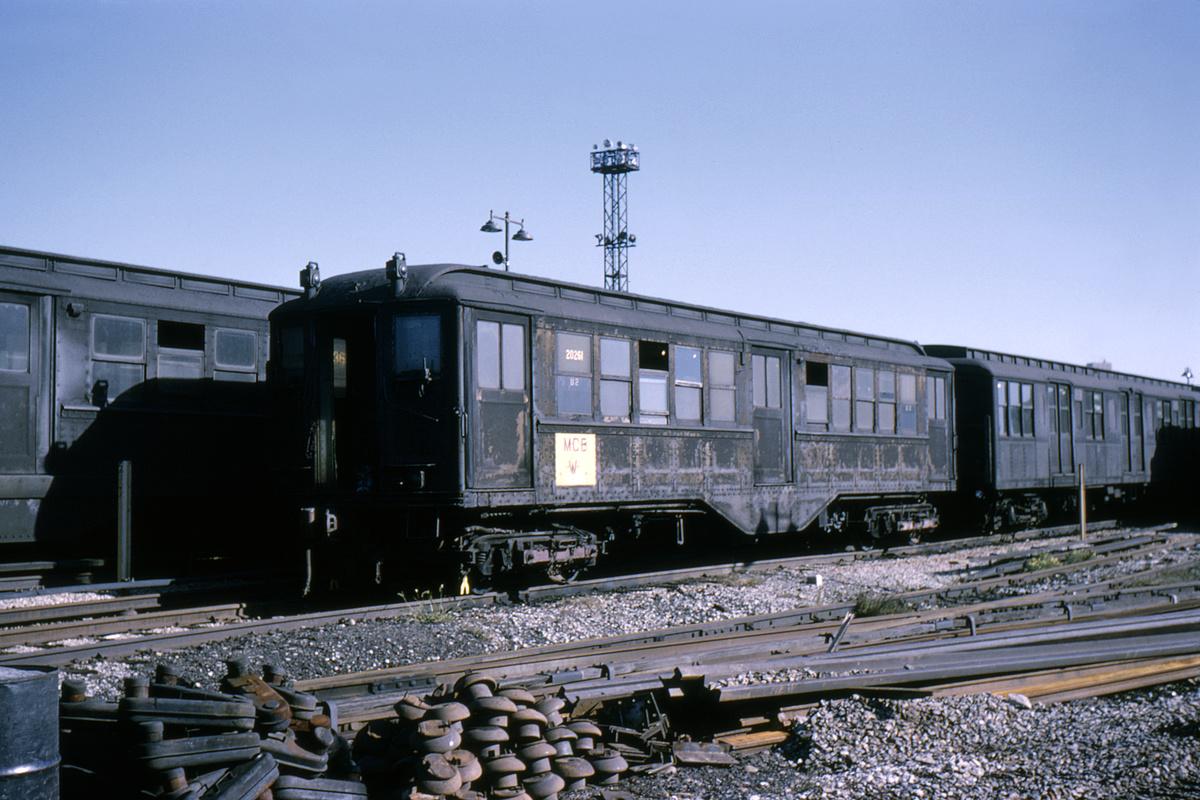 (300k, 1044x705)<br><b>Country:</b> United States<br><b>City:</b> New York<br><b>System:</b> New York City Transit<br><b>Location:</b> Coney Island Yard<br><b>Car:</b> Low-V 20261 (ex-4587)<br><b>Collection of:</b> David Pirmann<br><b>Date:</b> 10/3/1964<br><b>Viewed (this week/total):</b> 0 / 2318