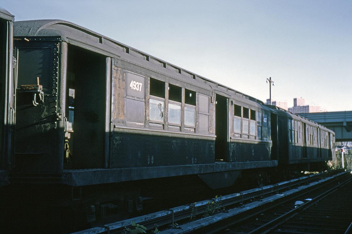 (224k, 1024x683)<br><b>Country:</b> United States<br><b>City:</b> New York<br><b>System:</b> New York City Transit<br><b>Location:</b> Coney Island Yard<br><b>Car:</b> Low-V 4937 <br><b>Collection of:</b> David Pirmann<br><b>Date:</b> 10/1964<br><b>Viewed (this week/total):</b> 0 / 2053