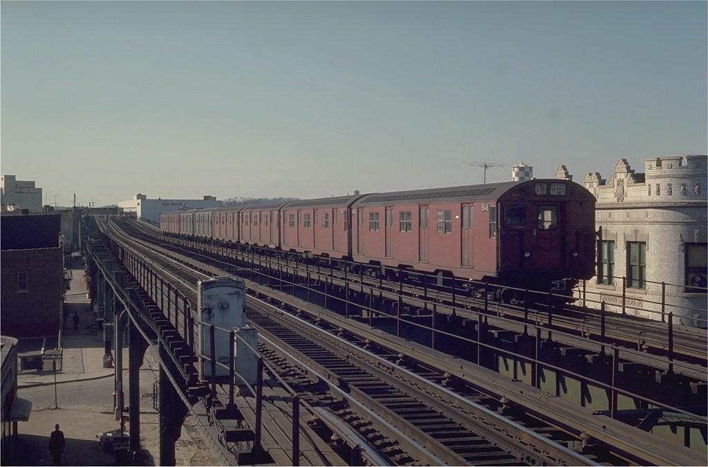 (171k, 1024x675)<br><b>Country:</b> United States<br><b>City:</b> New York<br><b>System:</b> New York City Transit<br><b>Line:</b> BMT Nassau Street/Jamaica Line<br><b>Location:</b> Queens Boulevard (Demolished) <br><b>Route:</b> QJ<br><b>Car:</b> R-27 (St. Louis, 1960)  8146 <br><b>Photo by:</b> Joe Testagrose<br><b>Date:</b> 2/22/1970<br><b>Viewed (this week/total):</b> 0 / 4150