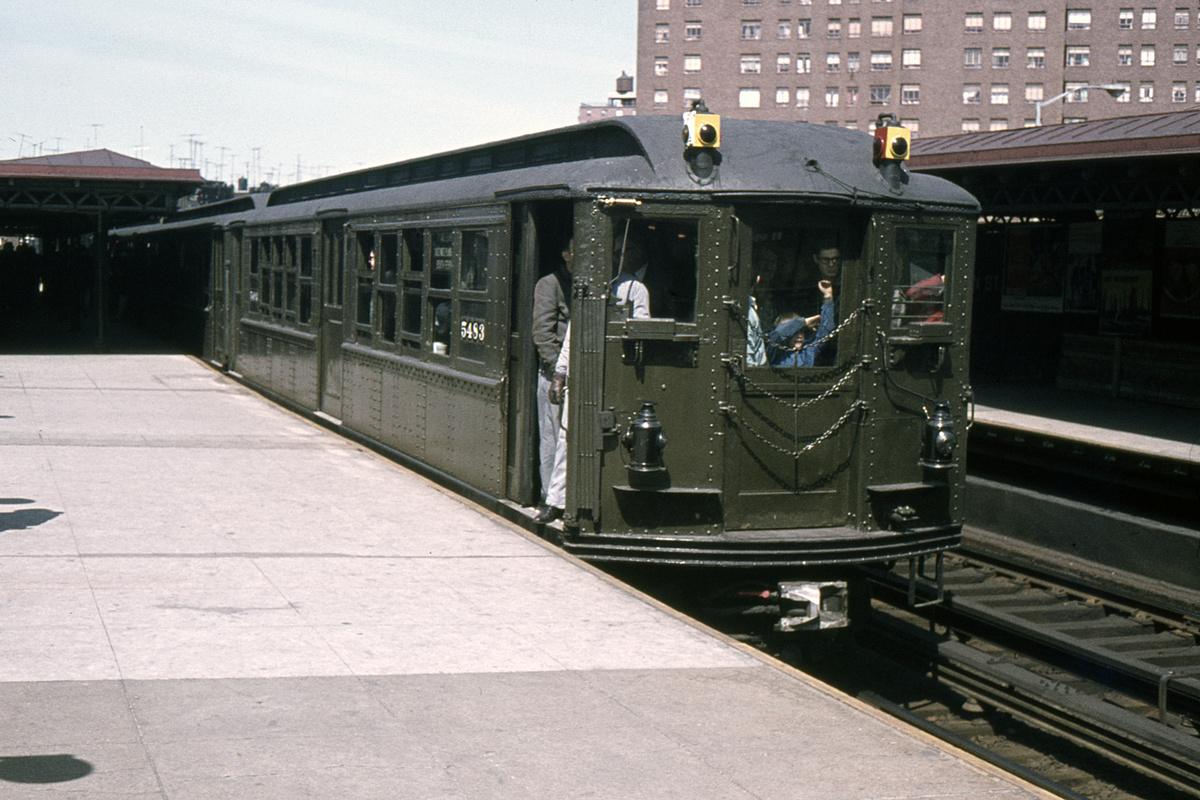 (316k, 1024x683)<br><b>Country:</b> United States<br><b>City:</b> New York<br><b>System:</b> New York City Transit<br><b>Line:</b> IRT West Side Line<br><b>Location:</b> Dyckman Street <br><b>Route:</b> Fan Trip<br><b>Car:</b> Low-V (Museum Train) 5483 <br><b>Collection of:</b> David Pirmann<br><b>Date:</b> 5/7/1966<br><b>Viewed (this week/total):</b> 2 / 3805