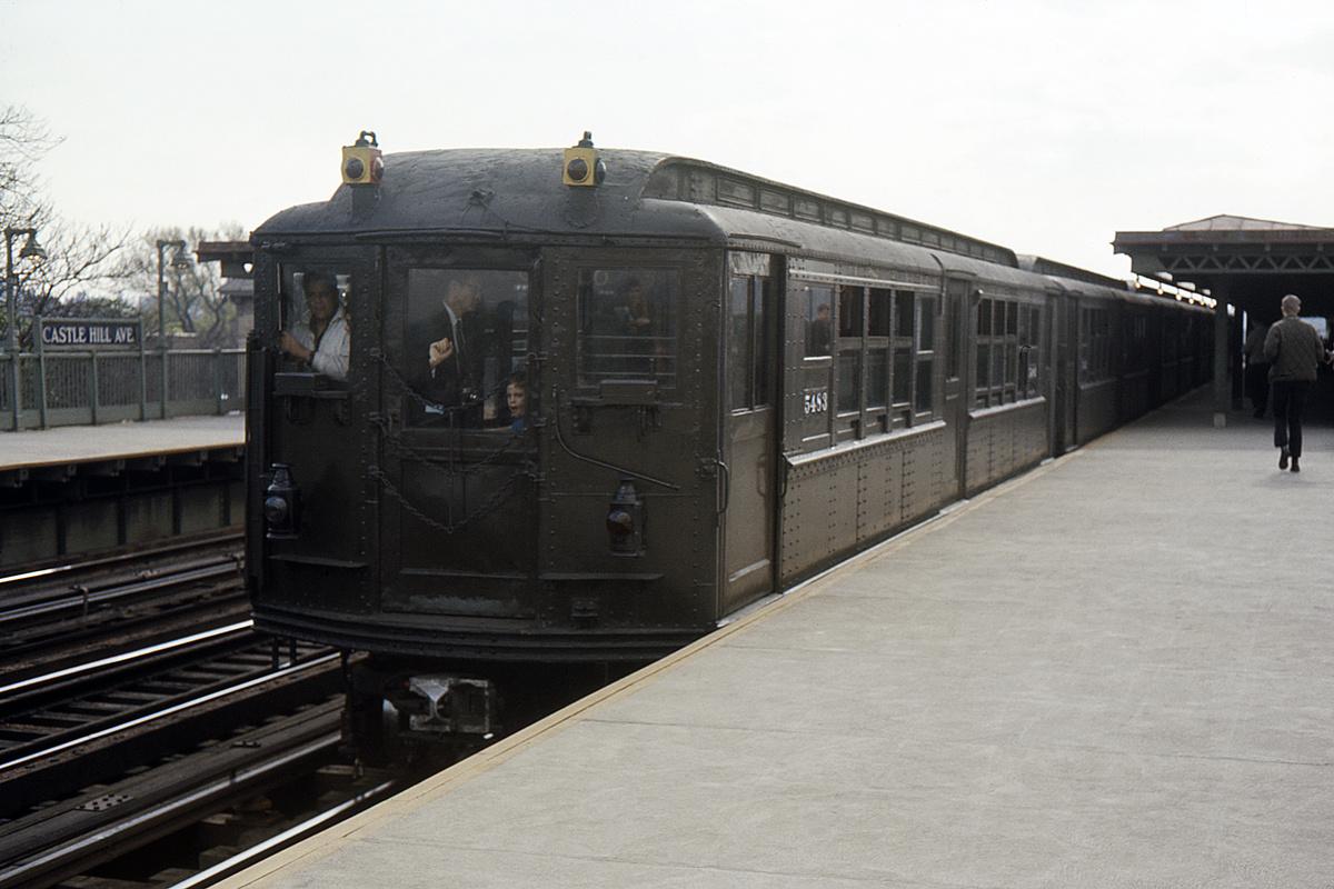 (309k, 1044x714)<br><b>Country:</b> United States<br><b>City:</b> New York<br><b>System:</b> New York City Transit<br><b>Line:</b> IRT Pelham Line<br><b>Location:</b> Castle Hill Avenue <br><b>Route:</b> Fan Trip<br><b>Car:</b> Low-V (Museum Train) 5483 <br><b>Collection of:</b> David Pirmann<br><b>Date:</b> 5/7/1966<br><b>Viewed (this week/total):</b> 0 / 2852