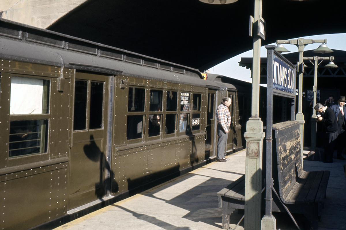 (305k, 1024x683)<br><b>Country:</b> United States<br><b>City:</b> New York<br><b>System:</b> New York City Transit<br><b>Line:</b> BMT Astoria Line<br><b>Location:</b> Ditmars Boulevard <br><b>Route:</b> Fan Trip<br><b>Car:</b> Low-V (Museum Train) 5483 <br><b>Collection of:</b> David Pirmann<br><b>Date:</b> 11/14/1965<br><b>Viewed (this week/total):</b> 5 / 3182