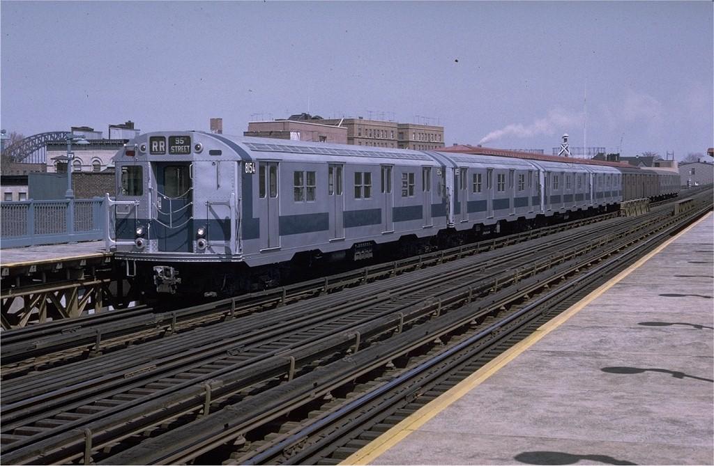 (205k, 1024x669)<br><b>Country:</b> United States<br><b>City:</b> New York<br><b>System:</b> New York City Transit<br><b>Line:</b> BMT Astoria Line<br><b>Location:</b> 30th/Grand Aves. <br><b>Route:</b> RR<br><b>Car:</b> R-27 (St. Louis, 1960)  8154 <br><b>Photo by:</b> Steve Zabel<br><b>Collection of:</b> Joe Testagrose<br><b>Date:</b> 4/11/1971<br><b>Viewed (this week/total):</b> 0 / 3067