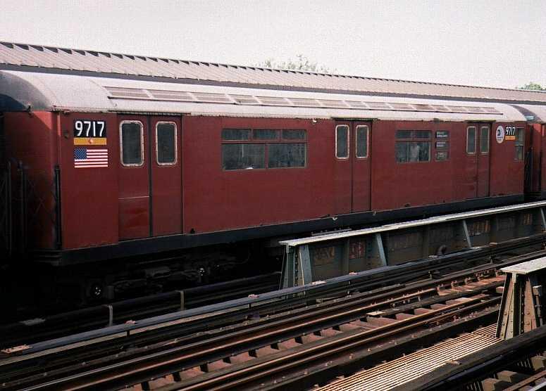 (52k, 775x556)<br><b>Country:</b> United States<br><b>City:</b> New York<br><b>System:</b> New York City Transit<br><b>Line:</b> IRT Flushing Line<br><b>Location:</b> 69th Street/Fisk Avenue <br><b>Route:</b> 7<br><b>Car:</b> R-36 World's Fair (St. Louis, 1963-64) 9717 <br><b>Photo by:</b> Gary Chatterton<br><b>Date:</b> 7/1/2003<br><b>Viewed (this week/total):</b> 1 / 3198