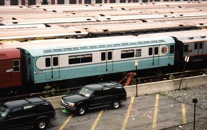 (91k, 800x503)<br><b>Country:</b> United States<br><b>City:</b> New York<br><b>System:</b> New York City Transit<br><b>Location:</b> Corona Yard<br><b>Car:</b> R-33 World's Fair (St. Louis, 1963-64) 9306 <br><b>Photo by:</b> Gary Chatterton<br><b>Date:</b> 8/8/2003<br><b>Viewed (this week/total):</b> 2 / 3017