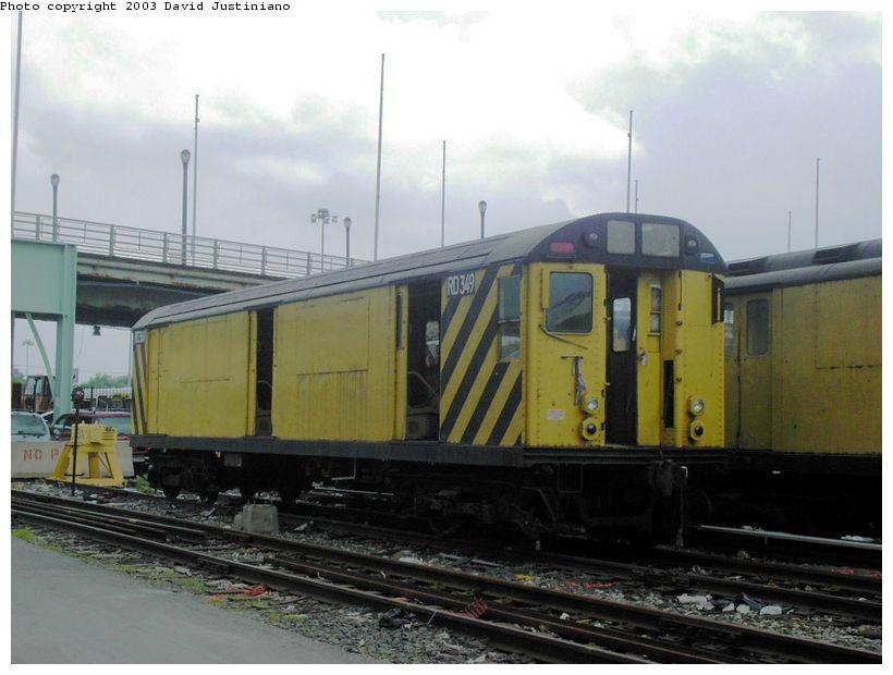 (137k, 820x620)<br><b>Country:</b> United States<br><b>City:</b> New York<br><b>System:</b> New York City Transit<br><b>Location:</b> Corona Yard<br><b>Car:</b> R-71 Rider Car (R-17/R-21/R-22 Rebuilds)  RD349 (ex-7522)<br><b>Photo by:</b> David Justiniano<br><b>Date:</b> 8/14/2003<br><b>Viewed (this week/total):</b> 0 / 3242