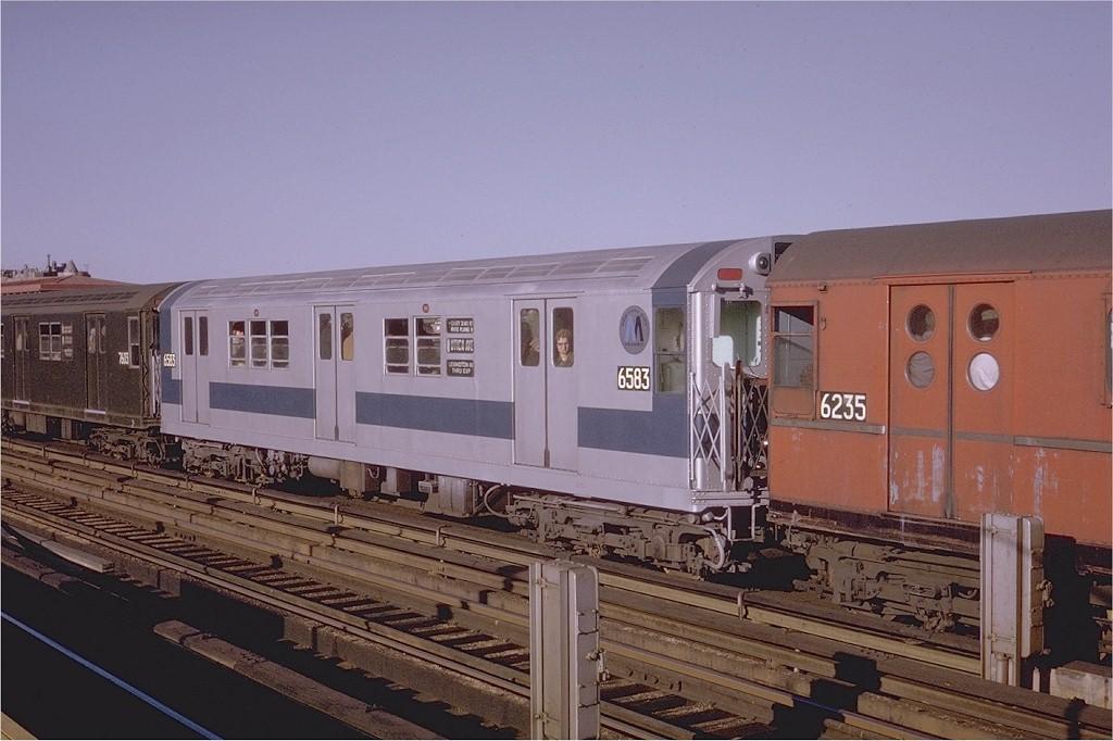 (174k, 1024x682)<br><b>Country:</b> United States<br><b>City:</b> New York<br><b>System:</b> New York City Transit<br><b>Line:</b> IRT White Plains Road Line<br><b>Location:</b> Bronx Park East <br><b>Route:</b> 2<br><b>Car:</b> R-17 (St. Louis, 1955-56) 6583 <br><b>Photo by:</b> Steve Zabel<br><b>Collection of:</b> Joe Testagrose<br><b>Date:</b> 5/14/1970<br><b>Viewed (this week/total):</b> 5 / 3374
