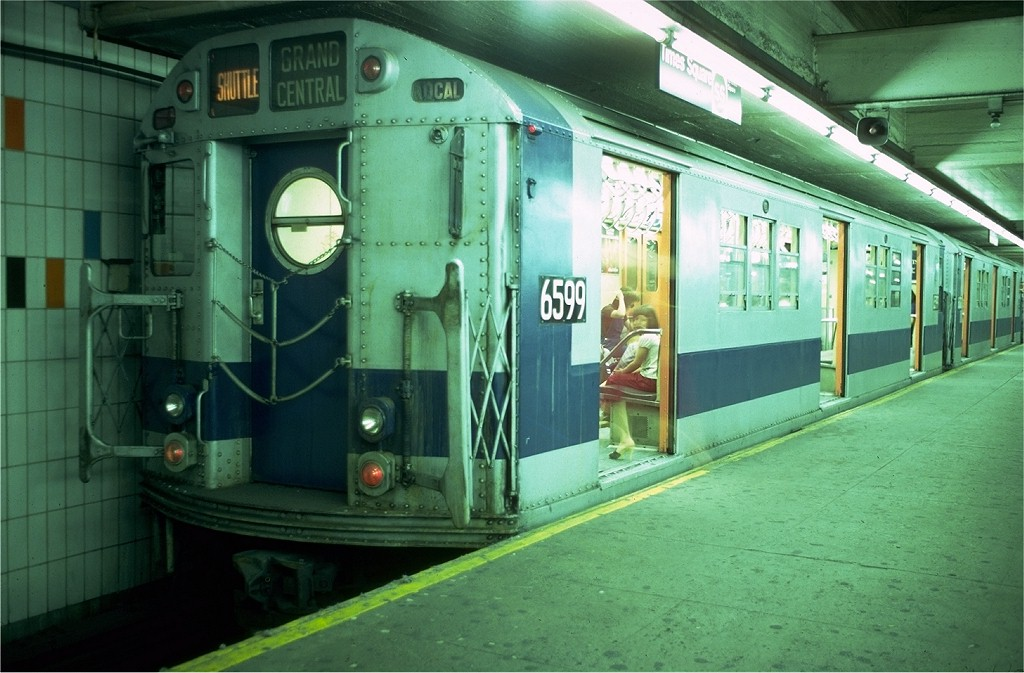 (182k, 1024x673)<br><b>Country:</b> United States<br><b>City:</b> New York<br><b>System:</b> New York City Transit<br><b>Line:</b> IRT Times Square-Grand Central Shuttle<br><b>Location:</b> Grand Central <br><b>Car:</b> R-17 (St. Louis, 1955-56) 6599 <br><b>Photo by:</b> Doug Grotjahn<br><b>Collection of:</b> Joe Testagrose<br><b>Date:</b> 6/10/1979<br><b>Viewed (this week/total):</b> 0 / 6288