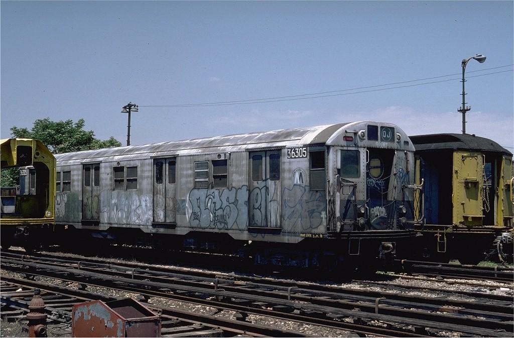 (221k, 1024x673)<br><b>Country:</b> United States<br><b>City:</b> New York<br><b>System:</b> New York City Transit<br><b>Location:</b> 36th Street Yard<br><b>Car:</b> R-16 (American Car & Foundry, 1955) 36305 (ex-6305)<br><b>Photo by:</b> Steve Zabel<br><b>Collection of:</b> Joe Testagrose<br><b>Date:</b> 6/18/1981<br><b>Viewed (this week/total):</b> 10 / 5699