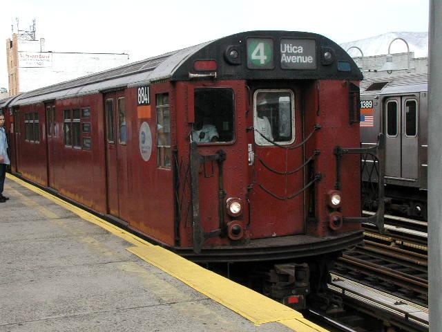 (66k, 640x480)<br><b>Country:</b> United States<br><b>City:</b> New York<br><b>System:</b> New York City Transit<br><b>Line:</b> IRT Woodlawn Line<br><b>Location:</b> 183rd Street <br><b>Route:</b> 4<br><b>Car:</b> R-33 Main Line (St. Louis, 1962-63) 8841 <br><b>Photo by:</b> Carlton Walton<br><b>Date:</b> 2001<br><b>Viewed (this week/total):</b> 0 / 5919