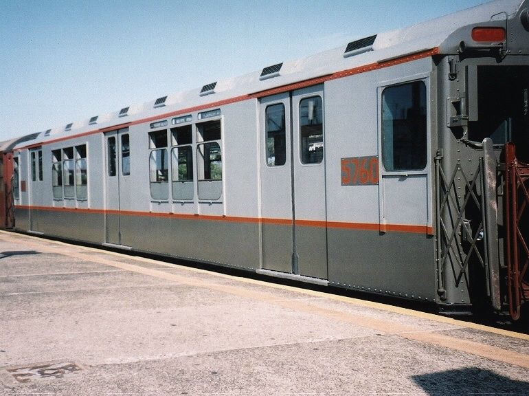 (93k, 770x576)<br><b>Country:</b> United States<br><b>City:</b> New York<br><b>System:</b> New York City Transit<br><b>Line:</b> BMT Astoria Line<br><b>Location:</b> Astoria Boulevard/Hoyt Avenue <br><b>Route:</b> Fan Trip<br><b>Car:</b> R-12 (American Car & Foundry, 1948) 5760 <br><b>Photo by:</b> Gary Chatterton<br><b>Date:</b> 8/23/2003<br><b>Viewed (this week/total):</b> 0 / 3838