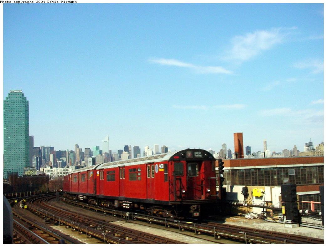 (105k, 1044x788)<br><b>Country:</b> United States<br><b>City:</b> New York<br><b>System:</b> New York City Transit<br><b>Line:</b> IRT Flushing Line<br><b>Location:</b> 33rd Street/Rawson Street <br><b>Route:</b> 7<br><b>Car:</b> R-36 World's Fair (St. Louis, 1963-64) 9630 <br><b>Photo by:</b> David Pirmann<br><b>Date:</b> 3/10/2001<br><b>Viewed (this week/total):</b> 0 / 3491