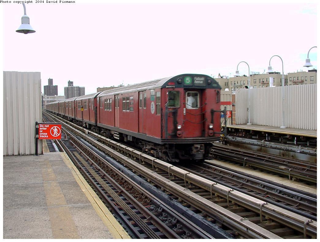 (133k, 1044x788)<br><b>Country:</b> United States<br><b>City:</b> New York<br><b>System:</b> New York City Transit<br><b>Line:</b> IRT White Plains Road Line<br><b>Location:</b> 174th Street <br><b>Route:</b> 5<br><b>Car:</b> R-26 (American Car & Foundry, 1959-60) 7771 <br><b>Photo by:</b> David Pirmann<br><b>Date:</b> 7/3/2001<br><b>Viewed (this week/total):</b> 1 / 6757