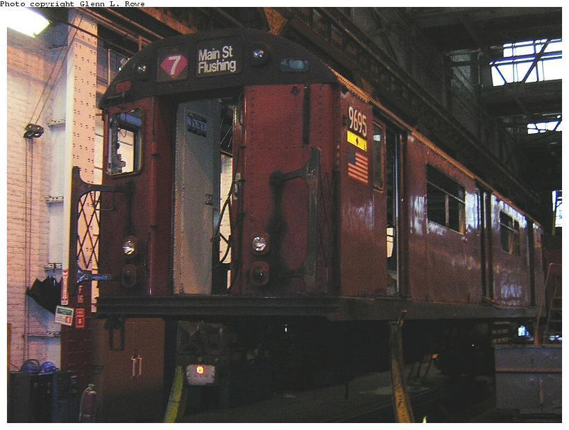 (108k, 820x620)<br><b>Country:</b> United States<br><b>City:</b> New York<br><b>System:</b> New York City Transit<br><b>Location:</b> 207th Street Shop<br><b>Car:</b> R-36 World's Fair (St. Louis, 1963-64) 9695 <br><b>Photo by:</b> Glenn L. Rowe<br><b>Date:</b> 9/1/2003<br><b>Viewed (this week/total):</b> 2 / 3761