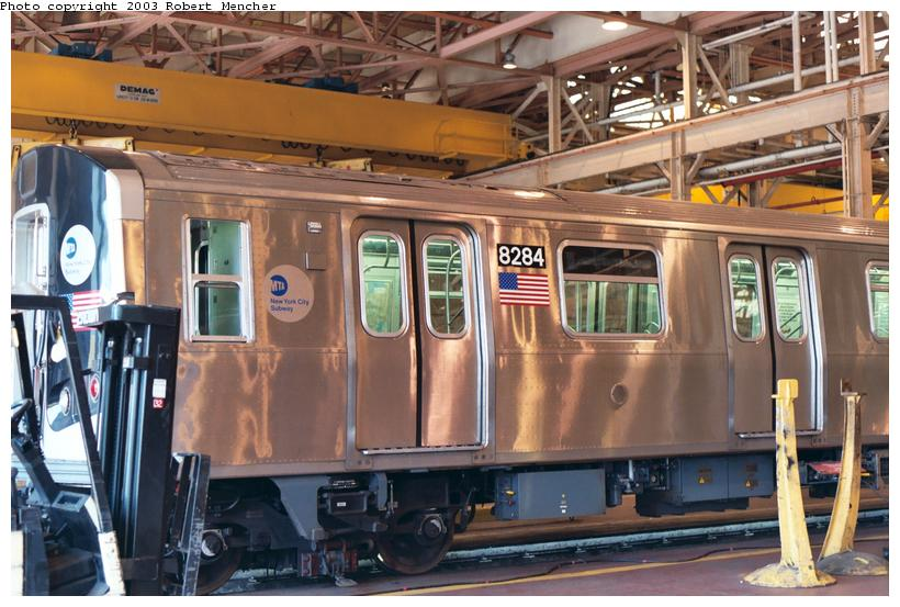 (116k, 820x553)<br><b>Country:</b> United States<br><b>City:</b> New York<br><b>System:</b> New York City Transit<br><b>Location:</b> Coney Island Shop/Overhaul & Repair Shop<br><b>Car:</b> R-143 (Kawasaki, 2001-2002) 8284 <br><b>Photo by:</b> Robert Mencher<br><b>Date:</b> 8/2003<br><b>Viewed (this week/total):</b> 4 / 4912
