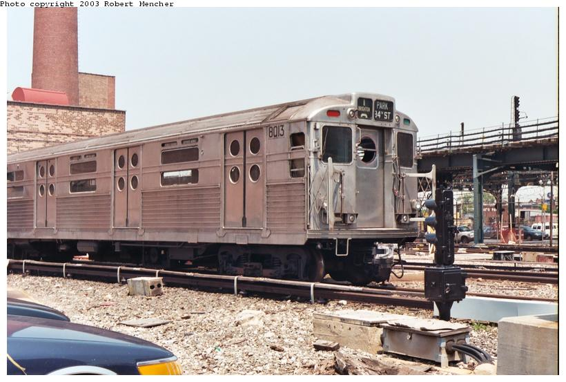 (107k, 820x553)<br><b>Country:</b> United States<br><b>City:</b> New York<br><b>System:</b> New York City Transit<br><b>Location:</b> Coney Island Yard-Museum Yard<br><b>Car:</b> R-11 (Budd, 1949) 8013 <br><b>Photo by:</b> Robert Mencher<br><b>Date:</b> 8/2003<br><b>Viewed (this week/total):</b> 5 / 9762