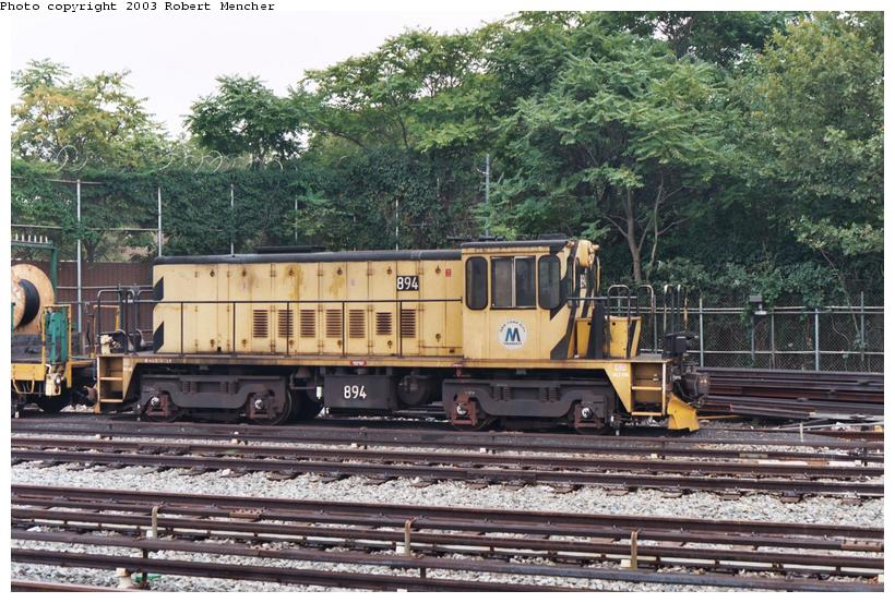 (144k, 820x553)<br><b>Country:</b> United States<br><b>City:</b> New York<br><b>System:</b> New York City Transit<br><b>Location:</b> Rockaway Parkway (Canarsie) Yard<br><b>Car:</b> R-77 Locomotive  894 <br><b>Photo by:</b> Robert Mencher<br><b>Date:</b> 8/2003<br><b>Viewed (this week/total):</b> 0 / 2217