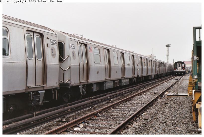 (98k, 820x553)<br><b>Country:</b> United States<br><b>City:</b> New York<br><b>System:</b> New York City Transit<br><b>Location:</b> Rockaway Parkway (Canarsie) Yard<br><b>Car:</b> R-143 (Kawasaki, 2001-2002) 8283 <br><b>Photo by:</b> Robert Mencher<br><b>Date:</b> 8/2003<br><b>Viewed (this week/total):</b> 0 / 4443