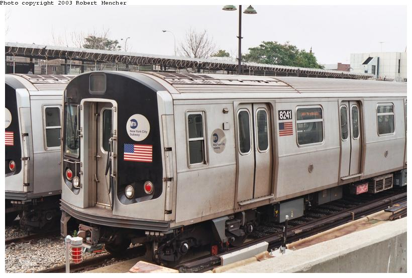 (102k, 820x553)<br><b>Country:</b> United States<br><b>City:</b> New York<br><b>System:</b> New York City Transit<br><b>Location:</b> Rockaway Parkway (Canarsie) Yard<br><b>Car:</b> R-143 (Kawasaki, 2001-2002) 8241 <br><b>Photo by:</b> Robert Mencher<br><b>Date:</b> 8/2003<br><b>Viewed (this week/total):</b> 1 / 4994