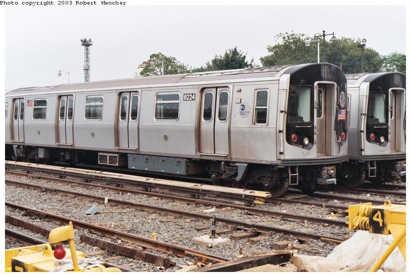 (115k, 820x553)<br><b>Country:</b> United States<br><b>City:</b> New York<br><b>System:</b> New York City Transit<br><b>Location:</b> Rockaway Parkway (Canarsie) Yard<br><b>Car:</b> R-143 (Kawasaki, 2001-2002) 8224 <br><b>Photo by:</b> Robert Mencher<br><b>Date:</b> 8/2003<br><b>Viewed (this week/total):</b> 0 / 3928