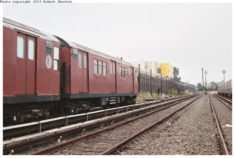 (92k, 820x553)<br><b>Country:</b> United States<br><b>City:</b> New York<br><b>System:</b> New York City Transit<br><b>Location:</b> Rockaway Parkway (Canarsie) Yard<br><b>Car:</b> R-26 (American Car & Foundry, 1959-60) 7770 <br><b>Photo by:</b> Robert Mencher<br><b>Date:</b> 8/2003<br><b>Viewed (this week/total):</b> 0 / 4378