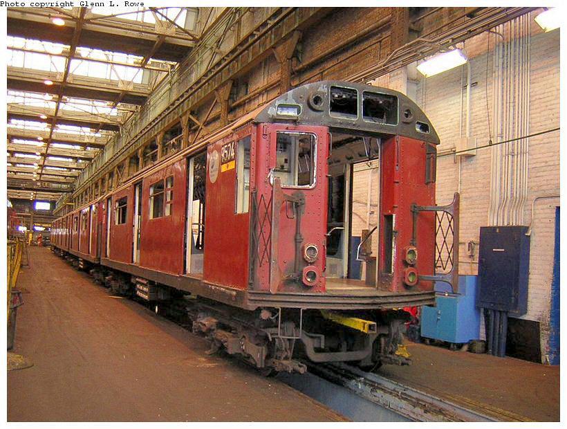 (169k, 820x620)<br><b>Country:</b> United States<br><b>City:</b> New York<br><b>System:</b> New York City Transit<br><b>Location:</b> 207th Street Shop<br><b>Car:</b> R-36 World's Fair (St. Louis, 1963-64) 9574 <br><b>Photo by:</b> Glenn L. Rowe<br><b>Date:</b> 10/20/2003<br><b>Viewed (this week/total):</b> 0 / 3623