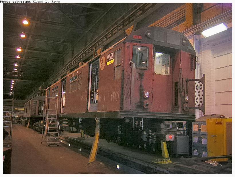 (132k, 820x620)<br><b>Country:</b> United States<br><b>City:</b> New York<br><b>System:</b> New York City Transit<br><b>Location:</b> 207th Street Shop<br><b>Car:</b> R-36 World's Fair (St. Louis, 1963-64) 9668 <br><b>Photo by:</b> Glenn L. Rowe<br><b>Date:</b> 10/20/2003<br><b>Viewed (this week/total):</b> 1 / 2881