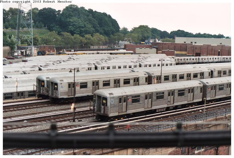 (110k, 820x553)<br><b>Country:</b> United States<br><b>City:</b> New York<br><b>System:</b> New York City Transit<br><b>Location:</b> East New York Yard/Shops<br><b>Car:</b> R-42 (St. Louis, 1969-1970)  4702 <br><b>Photo by:</b> Robert Mencher<br><b>Date:</b> 9/2003<br><b>Viewed (this week/total):</b> 3 / 4609