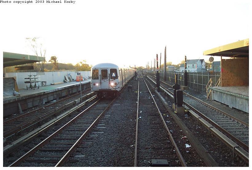 (87k, 820x553)<br><b>Country:</b> United States<br><b>City:</b> New York<br><b>System:</b> New York City Transit<br><b>Line:</b> IND Rockaway<br><b>Location:</b> Howard Beach <br><b>Photo by:</b> Michael Korby<br><b>Date:</b> 11/4/2002<br><b>Viewed (this week/total):</b> 0 / 3352
